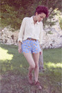 Brown-zara-shoes-light-blue-pijama-thrifted-shorts-ivory-vintage-blouse