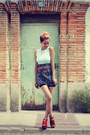 Carrot-orange-oasap-shoes-black-chicnova-shorts-navy-diy-skirt
