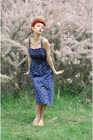 navy floral print vintage dress