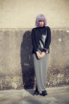 black romwe blouse - heather gray romwe skirt