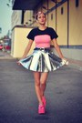 Silver-spike-romwe-skirt-bubble-gum-primark-t-shirt