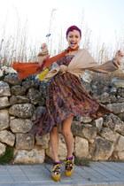 mustard  wedges - carrot orange gifted scarf - purple as dress vintage skirt