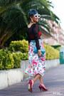 White-floral-print-vintage-skirt-turquoise-blue-piamonte-bag