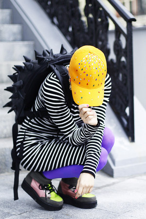 black backpack Ebay bag - lime green asos shoes - carrot orange cap DIY hat
