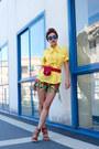 Yellow-chictopia-shop-cotton-shirt-green-tribal-print-boodwah-shorts