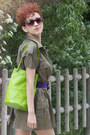 Green-1940s-vintage-shirt-chartreuse-vintage-bag-deep-purple-vintage-belt