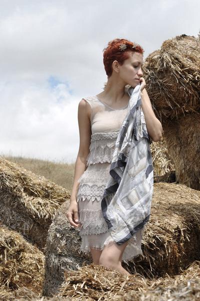 beige Zara dress - heather gray vintage scarf