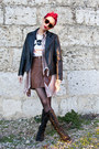Black-leather-no-brand-jacket-brown-h-m-skirt
