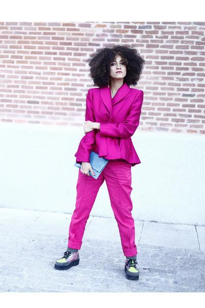lime green asos boots - hot pink Laura Caicoya blazer