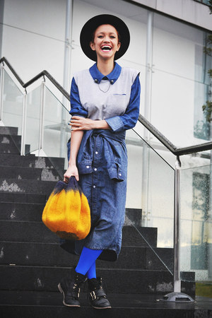 gold Sedania bag - silver Now I Style shirt - navy as skirt Now I Style shirt