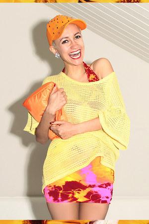 carrot orange cap DIY hat - hot pink tie dye We Love Colors dress