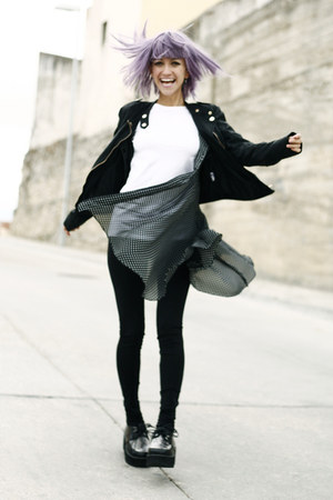 black vintage dress - black AX Paris jacket - black Zara pants