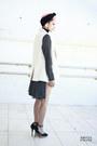 Black-vintage-dress-black-hot-pants-boodwah-shorts-white-blanco-vest