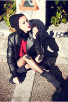 black Marypaz boots - red vintage sweater