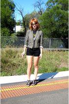 green Topshop blazer - black Pavement band t-shirt - black shorts - black belt -