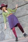 Purple-no-name-dress-burgandy-boho-hat-jacket-leggings-loafers
