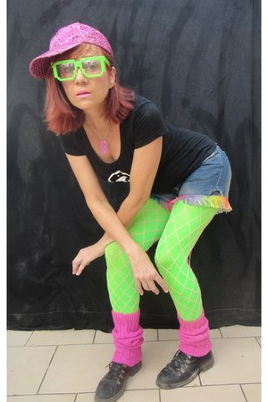 black combat boots - hat - We Love Colors tights - shorts
