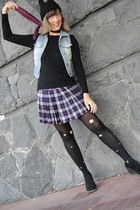 skirt - black romwe hat - diy black tights - tie - black suede wedges