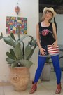 Red-embroidered-boots-hat-royal-blue-leggings-shirt-shirt-shorts