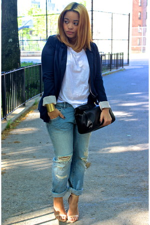 navy boyfriend H&M blazer - light blue boyfriend Zara jeans - black Zara bag