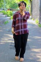 amethyst plaid H&M blouse - black slouchy Forever 21 pants