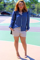 tan silk Forever 21 shorts - blue stripes Forever 21 blouse - nude Zara sandals
