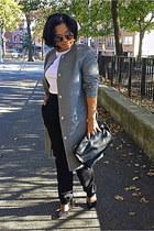black loose H&M Trend pants - silver wool H&M Trend coat