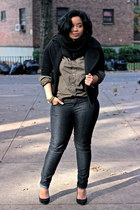 American Eagle shirt - gray skinny jeans Forever 21 jeans - black Zara heels