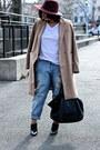Camel-h-m-trend-coat-crimson-asos-hat-white-h-m-divided-t-shirt