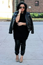 black leather jacket Zara jacket - camel leopard print Aldo shoes