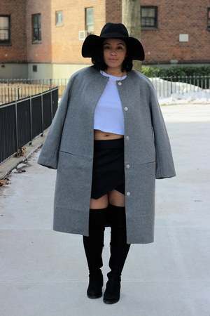 white crop top asos top - black Aldo boots - silver wool H&M Trend coat