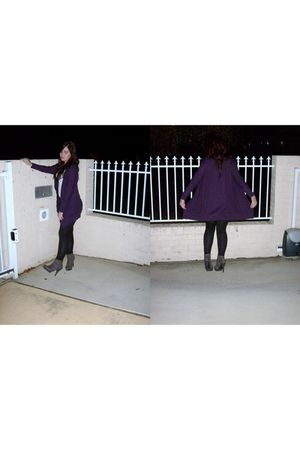 gray Dorothy Perkins shoes - purple Chica Bootti cardigan - white supre top - bl