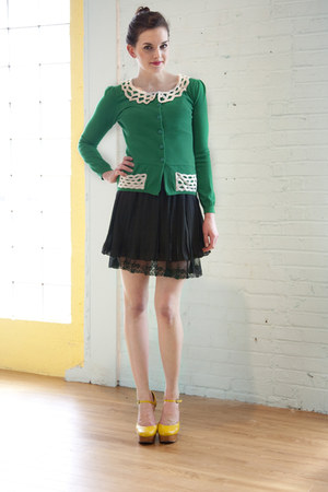 green modcloth cardigan - yellow Jeffrey Campbell wedges - black modcloth skirt