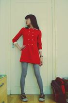 red 60s scooter dress - black Babycham shoes