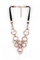 Deco Circle Interlock Necklace in Rose Gold