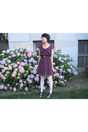 purple Heritage 1981 dress - H&M tights - belt - Forever 21 accessories - Foreve