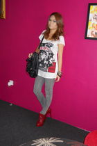 red shoes - white Jaspal shirt - gray Topshop jeans - black Charles & Keith - Fo