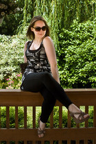 black Express leggings - light brown coach purse - Payless sunglasses - JCpenney