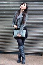 dark gray boots - heather gray Mini Market jacket - light blue air space purse -