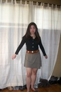Green-skirt-brown-belt-black-cardigan-brown-necklace
