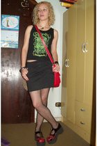 black skirt - black top - red purse