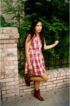 red Lilia Smith dress - brown KAT boots
