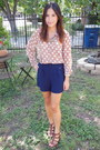 Navy-strut-shorts-light-brown-forever-21-blouse-dark-brown-ross-wedges