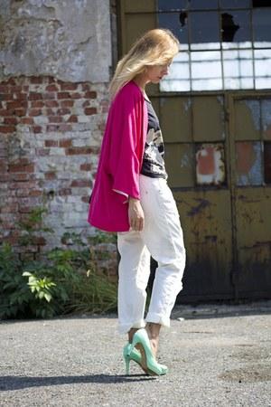 Bershka jeans - oversized Zara jacket - black and white H&M shirt