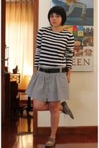 silver Stradivarius skirt - black Stradivarius belt - white Zara shirt - gray pu