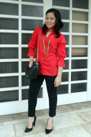 red CLN top - black random brand pants - black MNG shoes - black MNG accessories
