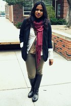 blazer - maroon scarf - leopard print top - necklace
