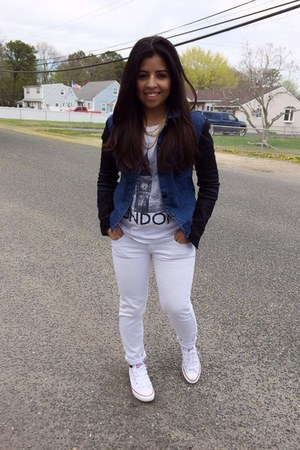 white Forever 21 shirt - blue jacket - white Converse sneakers