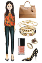 light orange leopard print asos sweater - camel Dolce Gabbana bag