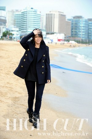 navy Alexander Wang coat - black Burberry dress - black Levis tights - black Cha